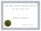 Old Time Radio Club Certificate